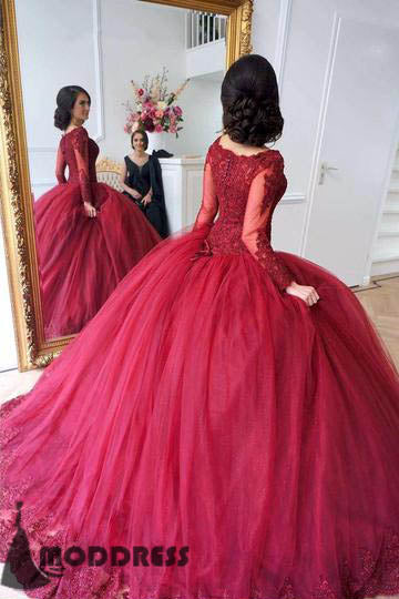 76ef68d1687f Lace Wedding Dresses Appliques Bridal Dress Long Sleeves Tulle Scoop Ball  Gowns