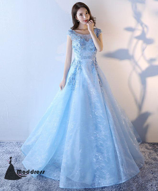 5741dcb698 Light Blue Long Prom Dress Lace Applique Evening Dress A-Line Formal Dresses  ...