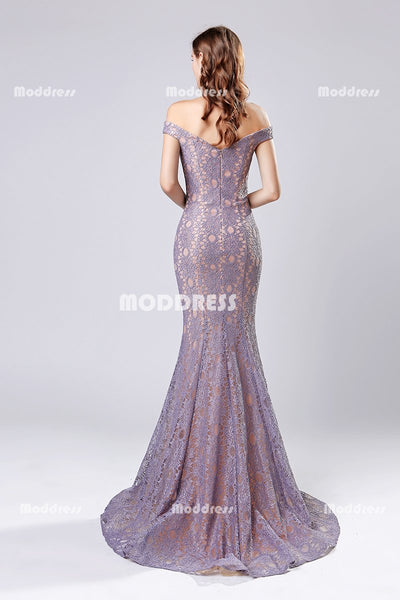 Lilac Lace Long Prom Dresses V-Neck Evening Dresses Mermaid Formal Dresses