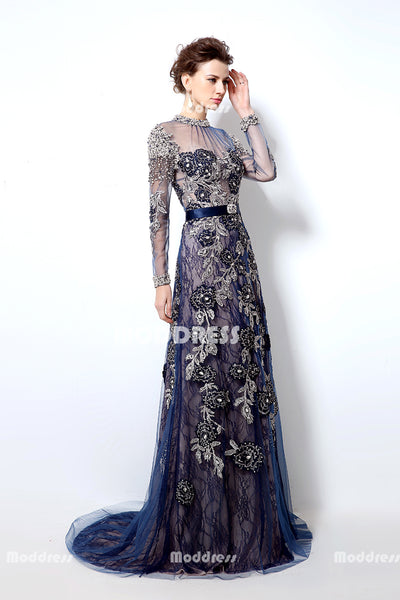 Luxurious Beaded Long Prom Dresses Applique Long Sleeve Evening Dresses A-Line Formal Dresses