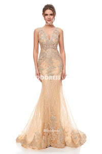 Luxurious Beaded Long Prom Dresses Lace Mermaid Evening Dresses Sleeveless Formal Dresses