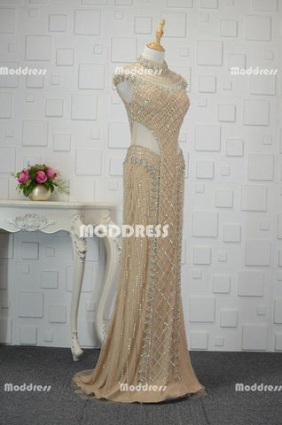 Luxurious Beaded Long Prom Dresses Mermaid Evening Dresses Cap Sleeve High Neck Formal Dresses