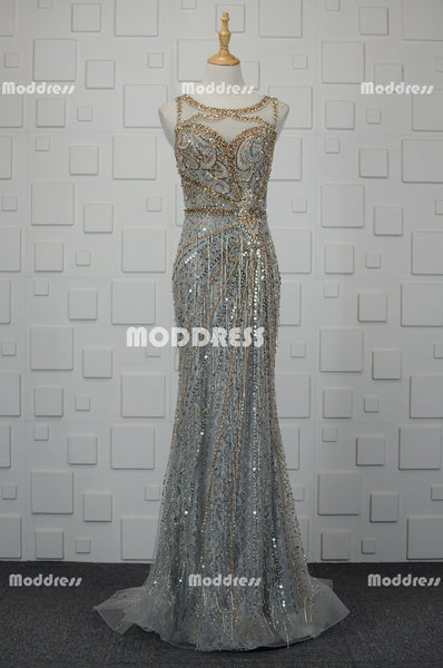 Luxurious Beaded Long Prom Dresses Mermaid Evening Dresses Sleeveless Formal Dresses