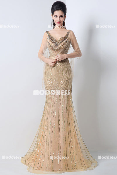 Luxurious Beaded Long Prom Dresses Mermaid Evening Dresses V-Neck Formal Dresses