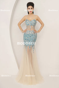 Luxurious Beaded Long prom Dresses Mermaid Evening Dresses Spaghetti Straps Formal Dresses