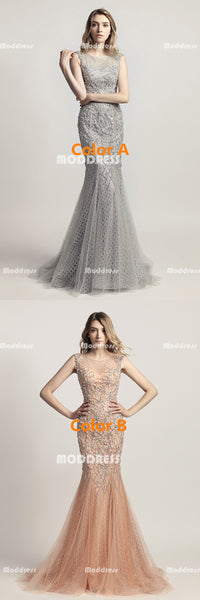 Luxurious Beaded Pearls Long Prom Dresses Mermaid Evening Dresses Sleeveless Formal Dresses