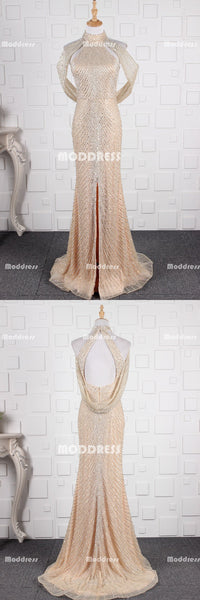 Luxurious Beaded Pearls Long Prom Dresses Mermaid Evening Dresses Sleeveless Formal Dresses with Slit