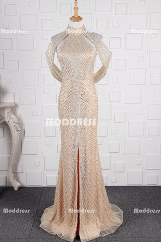 Luxurious Beaded Pearls Long Prom Dresses Mermaid Evening Dresses Sleeveless Formal Dresses with Slit,ZD0017