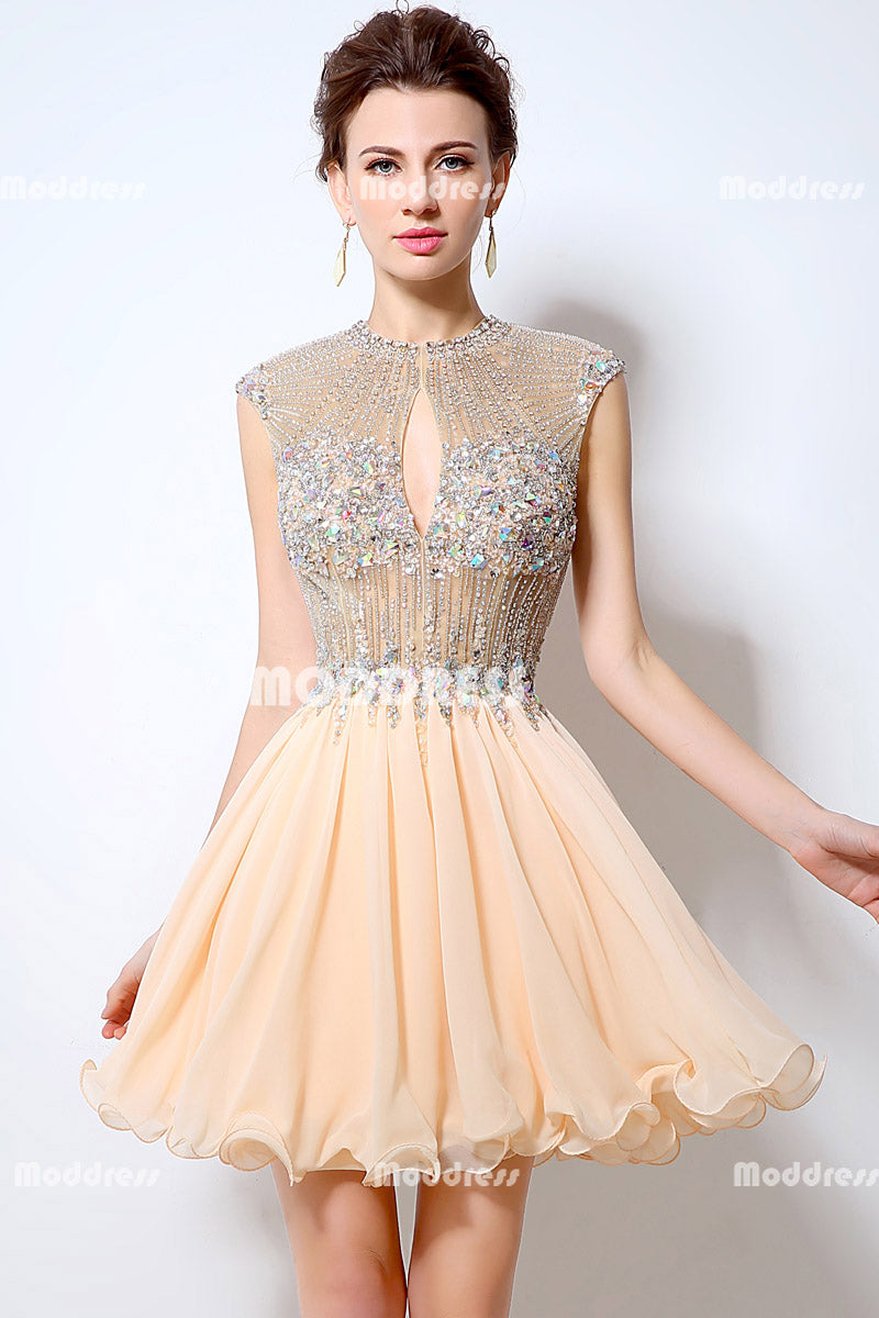 Luxurious Beaded Short Homecoming Dresses Chiffon A-Line Short Prom Dresses Backless Short Evening Dresses