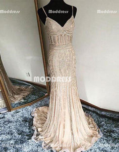 Luxurious Beaded V-Neck Long Prom Dresses Mermaid Evening Dresses Spaghetti Straps Formal Dresses,HS862