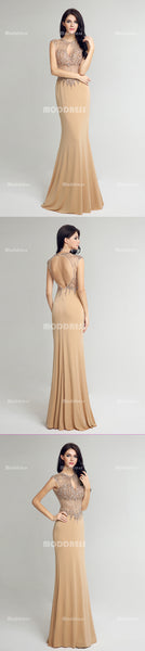 Luxurious Beading Long Prom Dresses Cap Sleeve Mermaid Evening Dresses Backless Formal Dresses with Keyhole