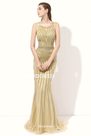Luxurious Beading Long Prom Dresses Mermaid Evening Dresses Scoop Formal Dresses