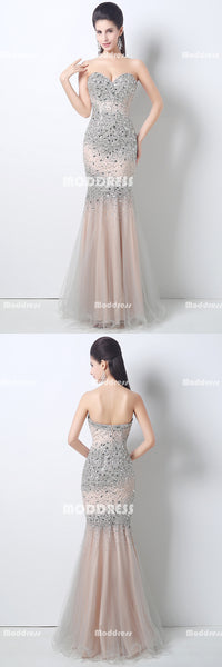 Luxurious Beading Long Prom Dresses Mermaid Evening Dresses Strapless Sweetheart Formal Dresses