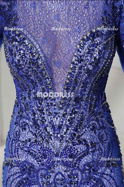 Luxurious Beading Long Prom Dresses Mermaid Long Sleeve Evening Formal Dresses