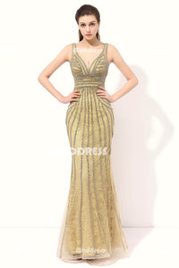 Luxurious Beading Long Prom Dresses V-Neck Mermaid Evening Dresses Backless Formal Dresses