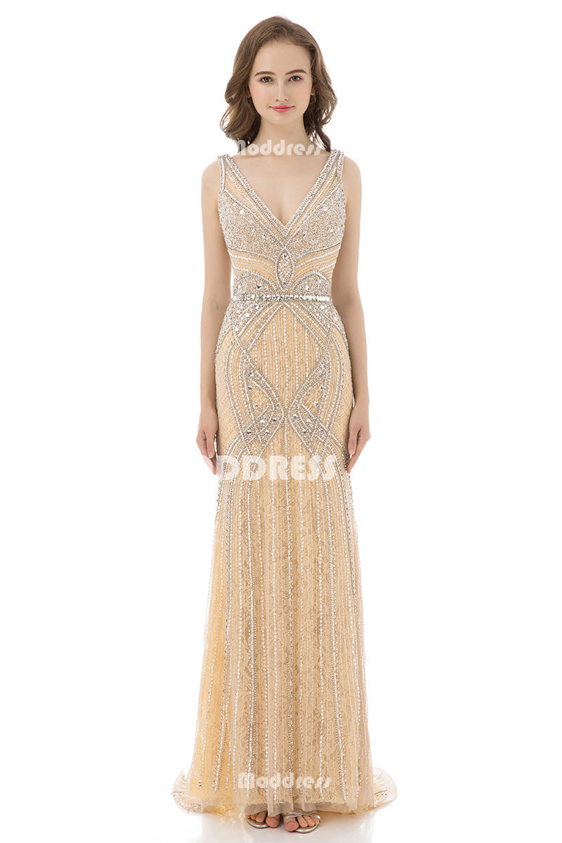 Luxurious Lace Beaded Long Prom Dresses V-Neck Evening Dresses Mermaid Formal Dresses