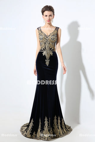 Luxurious Mother of the Bride Long Prom Dresses Applique Beaded Evening Dresses Velvet Mermaid Formal Dresses