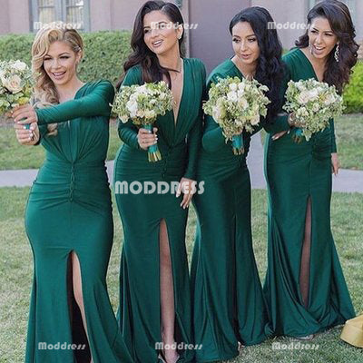 Mermaid Bridesmaid Dresses Long Sleeves Bridesmaid Dresses Deep V-Neck Bridesmaid Dresses with High Slit