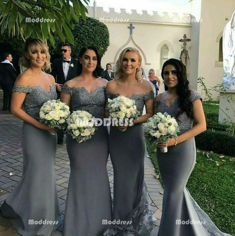Mermaid Long Bridesmaid Dresses Applique Bridesmaid Dresses Off the Shoulder Bridesmaid Dresses