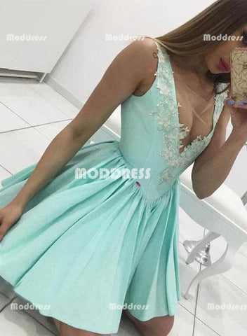 Mint Short Homecoming Dresses Applique Prom Dresses Sleeveless Evening Dresses,HS826