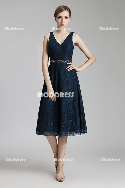 Mother of The Bride Lace V-Neck Short Prom Dresses Knee Length A-Line Evening Dresses Backless Formal Dresses