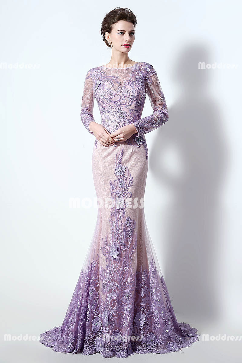 Mother of the Bride Lilac Applique Long Prom Dresses Beaded Mermaid Evening Dresses Long Sleeve Formal Dresses