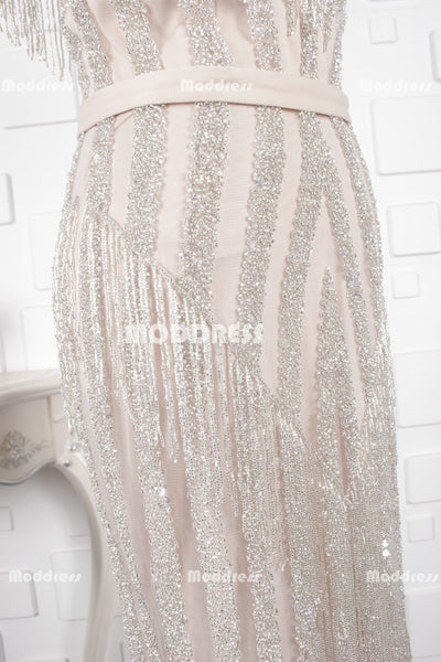 Charming Beaded Long Prom Dresses Mermaid Evening Dresses Cap Sleeve Formal Dresses with Slit