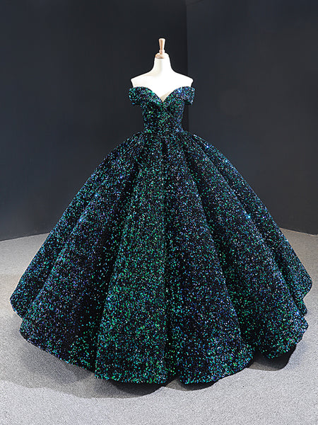 Ball Gown Cape Sleeves Satin Sequin Prom Dresses Evening Dresses,MD202005