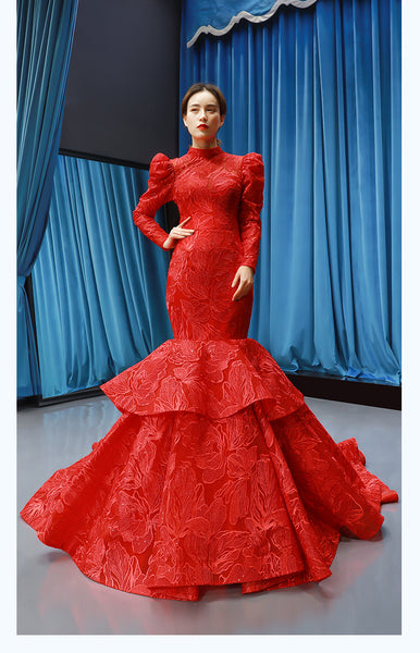 Mermaid Long Sleeves V Neck Lace Satin Prom Dresses Evening Dresses,MD202103