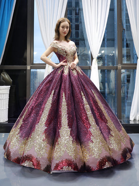 Ball Gown Cap Sleeves V Neck Golden  Applique Prom Dresses Evening Dresses,MD202002