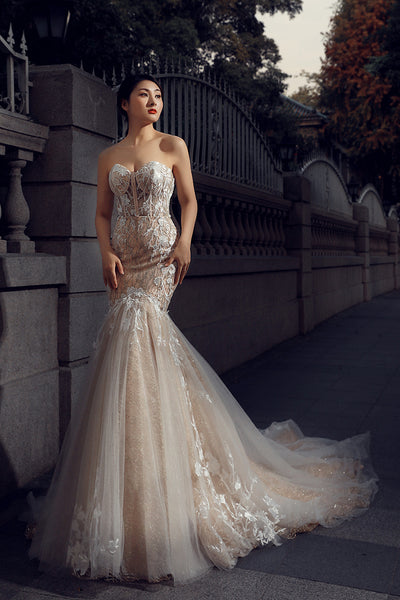 Mermaid Sleeveless Sweetheart Lace Tulle Prom Dresses Evening Dresses,MD202034