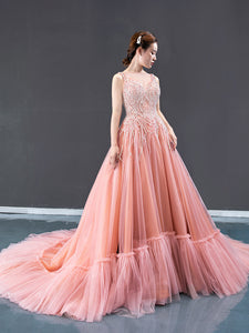 A Line V Neck Beading Sweep Train Tulle Prom Dresses Evening Dresses,MD202012