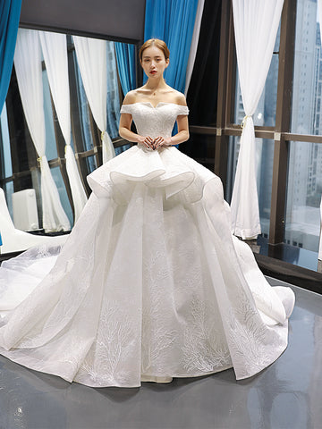 Ball Gown Square Cape Sleeves Lace Organza Prom Dresses Evening Dresses,MD202026