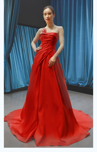 A Line Cap Sleeves Round Neck Lace Satin Prom Dresses Evening Dresses,MD202050