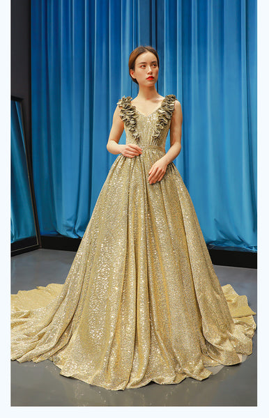 A Line Cap Sleeves V Neck Applique Sequin Prom Dresses Evening Dresses,MD202106