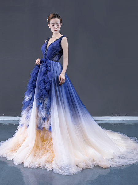 Ball Gown V Neck Tulle Beading Ruffle Prom Dresses Evening Dresses,MD202004