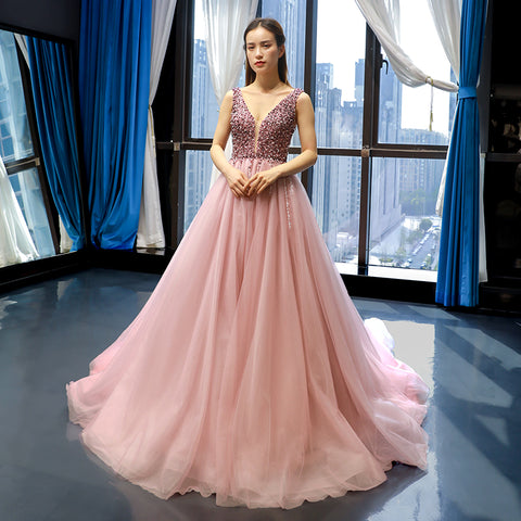 Ball Gown Sleeveless V Neck Tulle BeadingProm Dresses Evening Dresses,MD202003