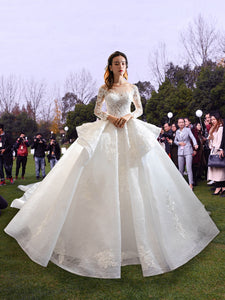 Ball Gown Long Sleeves Illusion Lace Tulle Sweep Train Wedding Dresses,MD202001