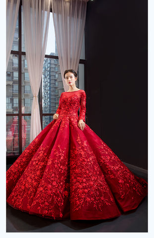 Ball Gown Long Sleeves Round Neck Applique Organza Prom Dresses Evening Dresses,MD202084