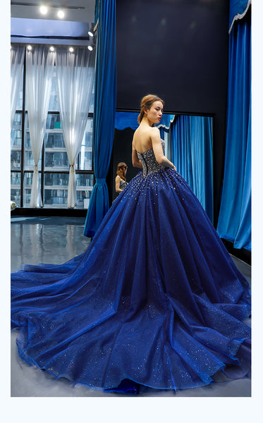 Ball Gown Sleeveless Sweetheart Rhinestone Tulle Prom Dresses Evening Dresses,MD202033