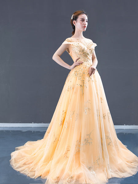 A Line Cape Sleeves Illusion Beading Tulle Prom Dresses Evening Dresses,MD202031
