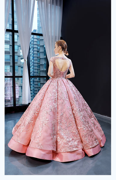 Ball Gown Cap Sleeves Round Neck Lace Satin Prom Dresses Evening Dresses,MD202069