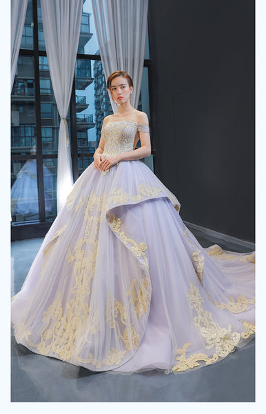 Ball Gown Cape Sleeves Off The Shoulder Lace Tulle Prom Dresses Evening Dresses,MD202040