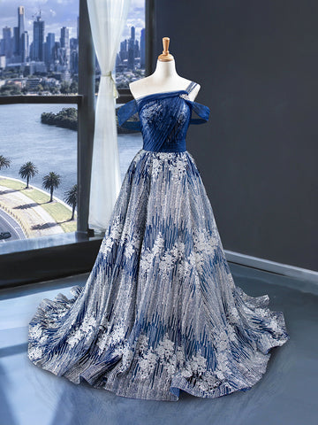 A Line Cape Sleeves One Shoulder Applique	Satin Prom Dresses Evening Dresses,MD202028