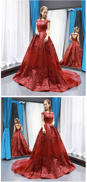 Ball Gown Cap Sleeves Round Neck Lace Satin Prom Dresses Evening Dresses,MD202092