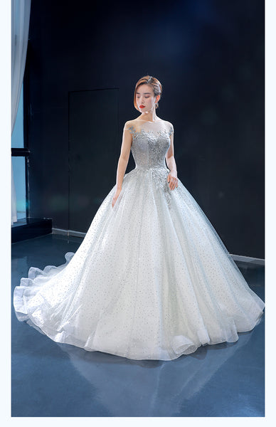 Ball Gown Cap Sleeves Illusion Lace Tulle Prom Dresses Evening Dresses,MD202068