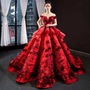 Ball Gown Cape Sleeves V Neck Applique Satin Prom Dresses Evening Dresses,MD202008