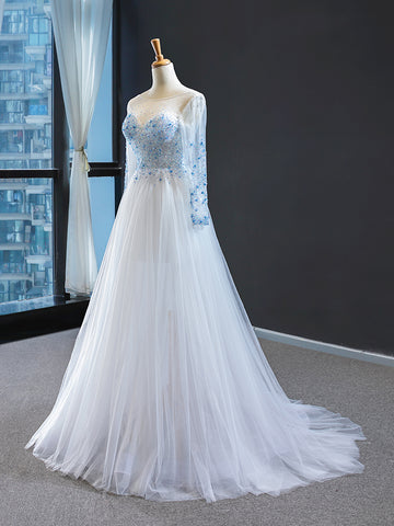 A Line Sweetheart Long Sleeves Beading Tulle Prom Dresses Evening Dresses,MD202020
