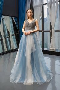 A Line Cap Sleeves V Neck Beading Tulle Prom Dresses Evening Dresses,MD202027