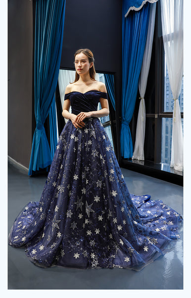 A Line Cape Sleeves Sweetheart Lace Tulle Prom Dresses Evening Dresses,MD202108